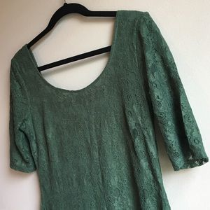 Banana Republic Green Lace 1/2 Sleeve Dress 10